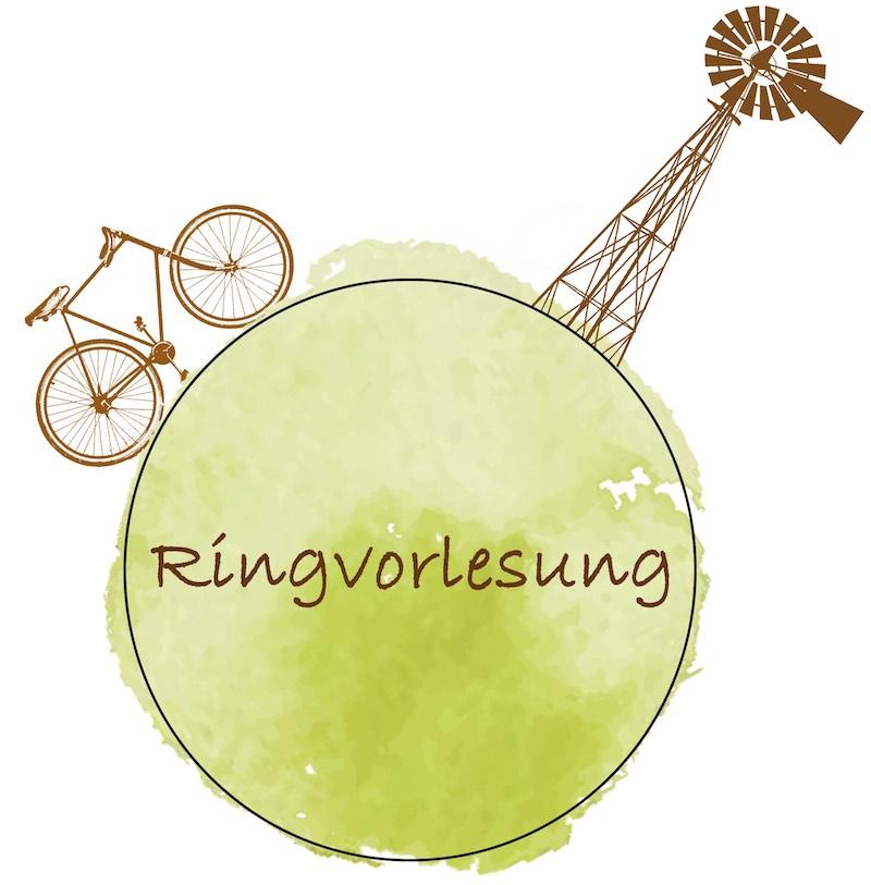 Ringvorlesung - Fahrrad und klassische Windmühle an grünem Punkt der die Erde repräsentiert